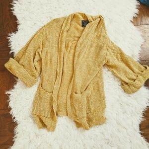 ABERCROMBIE cardigan sweater yellow mustard